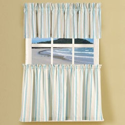 """C & F Enterprises, Inc. - Natural Shells Stripe Window Curtain Valance in Blue/Multi - Featuring an attractive stripe design these window curtain tier pairs quickly add style to any room. Perfect for a kitchen, laundry room, work area and more. The tiers are sold as pairs and each tier measures 30"""" wide. Matching valance sold separately."""