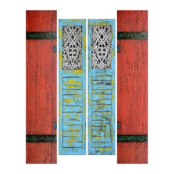 YOSEMITE HOME DECOR - Shutters Art Painted on Canvas - Set of 4 - Two hand painted pair of shutters, one set is in blue & gold and the other is in brick red and black.