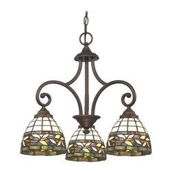 Design Classics Lighting - Neuvelle Bronze Mini-Chandelier with Multi-Color Glass - 716-220 GL1043 - Tiffany stained glass defines the charm of this three-light mini-chandelier, which makes a beguiling addition to any rustic cottage or suburban kitchen. Floral patterns, in natural and woodsy tones, display from a double-hook centerpiece finished in Neuvelle Bronze. This Beaumont collection fixture by Design Classics comes with six feet of chain; measures 18 inches tall by 21 inches wide. Takes (3) 100-watt incandescent A19 bulb(s). Bulb(s) sold separately. UL listed. Dry location rated.