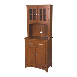 Home Source - Oak Hills Microwave Mahogany Cabinet - OAK HILLS MICROWAVE CABINET - Shop for Carts from Hayneedle.com! Designed for optimum space utilization in your kitchen the Oak Hills Microwave Cabinet - Mahogany is a welcome addition to most decor styles. Concealed shelving spaces offer ample storage at the top and bottom. Storage at the top is enclosed by cross-paned glass doors while the bottom shelves have two opaque doors and two drawers. Sandwiched between these storage areas is the space to comfortably accommodate your microwave. With a sturdy medium density fiber-board composite construction it's a durable addition to your kitchen.