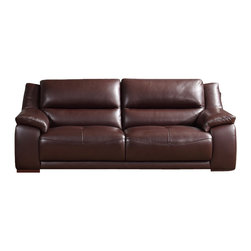 Creative Furniture - Leroy Transitional Brown Top Grain Leather Sofa - Transitional design from Creative Furniture and Chocolate Brown Top Grain Leather upholstery make the Leroy Sofa a timeless complement to any modern or traditional living room decor. 1.5mm Authentic Italian Top Grain Leather is durable and ready to serve for many years. The frame of the sofa is made of solid wood.     Features: