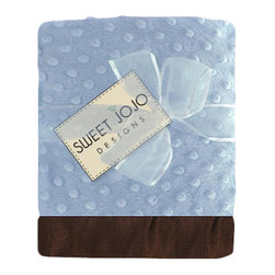 Sweet Jojo Designs - Sky Blue and Brown Minky Dot Chenille and Satin Blanket - Baby your baby with luxuriously soft minky fabric. This cozy sky blue blanket is decorated with gently raised dots that add texture and style. The matching silk trim border provides another smooth feel for baby to explore and cuddle. It's the perfect shower gift!