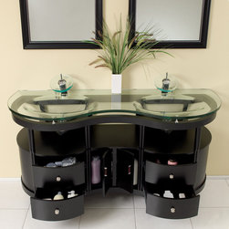 """Unico Espresso Modern Bathroom Vanity With Mirrors - This is a double sink version of the Simpatico Vanity (FVN3330ES). This double sink espresso vanity is really a contemporary twist on baroque furniture.  Clear glass basin and a wide mirror really make this ensemble great for those looking to not just update their bathroom, but keep it classic.  Many faucet styles to choose from.  Optional side cabinets are available.Dimensions of Vanity:  63""""W x 21.63""""D x 33.75""""H. Dimensions of Mirror:  23.63""""W x 31.5""""H. Materials:  Solid Oak Wood Frame, Glass Countertop/Sink. Single Hole Faucet Mounts (Faucet Shown In Picture May No Longer Be Available So Please Check Compatible Faucet List). P-traps, Faucets, Pop-Up Drains and Installation Hardware Included"""