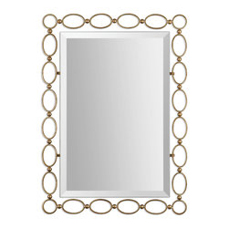 Uttermost - Lauria Gold Mirror - Hope does float. This hand-forged metal-framed mirror of see-through oval rings is lightly antiqued in gold leaf, so it seems to float on your wall. You can hang it vertically or horizontally to suit your wall space.
