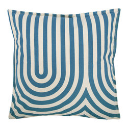 """Thomas Paul - Geometric Pillow, Teal - The handmade Thomas Paul Teal Geometric Design throw pillow features a hand silk-screened geometric print on 100% unbleached natural cotton canvas.  The modern shapes and bold color are a perfect way to kick up the design of any living room or bedroom. The design is reversible with opposite coloration on either side. The throw pillow has piped edges and comes with a feather insert. This is one of those great pieces that pairs well with solids or prints.    About the Artist: After graduating from NYC's famed FIT, Thomas Paul started his career as a colorist and designer at a silk mill. Eventually, he leveraged his knowledge of silk materials & print to launch a neckwear line of his own. Over time, Paul loved the idea of applying menswear print and design into a collection of home decor, which is what we see in his goods today. His background has embedded in him a passion for quality production techniques. Even as his brand grows, he continues to ensure all of his prints are hand screened - a slow, detailed process that results in each piece being a unique piece of artwork. Paul also pushes the envelope in terms of bold prints and hand ground materials.       """"My vision for the thomaspaul brand has always been about combining classic design motifs from different periods in textile design. Incorporating anything from an 18th century Damask pattern to a camouflage print. The unifying thread between so many different styles is to change the designs so they are updated for today. For me this means changing the scale, so they are always bold, and reducing down the colors and details, so most designs are reduced to two or three colors and become very flat, bold prints. I am always looking to vintage fabrics and motifs for inspiration and new ideas, but always try to update these to look good for today."""" - Thomas Paul   Product Details:"""