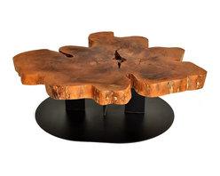 Live Edge Free Form Coffee Table - Reclaimed algarrobo wood on a steel base with black finish.