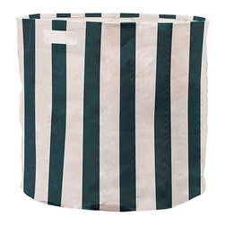 Pehr - Stripey Soiree Canvas Storage Bin, Navy - Our Stripey Soiree Canvas Fabric Storage Bins make organizing your home easy! Made from durable, 100% heavyweight canvas, these bins fit perfectly into your Ikea shelves. Fabric storage bins are the perfect way to corral all those extra toys!