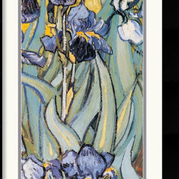 """Amanti Art - Iris Garden (Detail) Framed Print by Vincent Van Gogh - One of the most famous works by the artist, """"Irises"""" reflects Van Gogh's poignant expressionism where vibrant color and rich, sharp imagery symbolize deep, emotional undercurrents."""