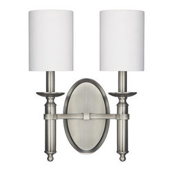 Capital Lighting - Capital Lighting 6302-489 Covington 2 Light Wall Sconce - Capital Lighting 6302-489 Covington 2 Light Wall SconceWith the best elements of traditional design and the clean lines and finish of modern aesthetics, this gorgeous twin light wall sconce will brighten up any room with its simple stylish decorative fabric shades, clean oval backplate, and simplified candle holder styling.Capital Lighting 6302-489 Features: