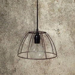 Exposed Wire Frame Pendant Light - Shapely exposed wire lampshades beautifully showcase a clear globe filament light bulb (included). Dark espresso brown textured finish.