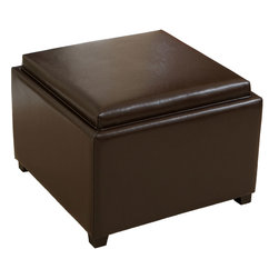Great Deal Furniture - Jefferson Tray-Top Storage Ottoman Coffee Table - The Jefferson Tray Top Storage Ottoman Coffee Table provides extra storage or an extra seat for when the time arises. The beautiful brown bonded leather is neutral to complement most existing furniture. Flip over the padded seat for a tray that can be used for displaying flowers or serving food.