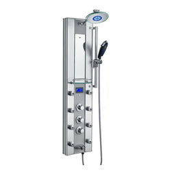"""AKDY - AKDY Thermostatic Aluminum Shower Panel Tower with Rainfall Shower Head, 52"""" - This new AKDY luxurious shower panel has just newly arrived to North America and it is one of the best shower panels you can find in the market. The body of the shower panel is made of high quality aluminum alloy. It comes with several functions, including an overhead shower, a hand-held shower head, 8 body massage nozzles, and a tub spout. Three controllers are also added on the panel which controls the overhead shower, body massage nozzles, handheld shower head, tub spout, and water temperature. . By buying this unique and lavishing shower panel, you would be able to enjoy a higher level of showering experience after every day's hard work!"""