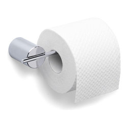 Blomus - Duo Polished Toilet Paper Holder - Narrow Rol - Mounting kit included. Holds rolls only. Euro version. Made of stainless steel, polished finish. Designed by Stotz-Design. 1-Year manufacturer's defect warranty. 6.32 in. L x 2.77 in. W. 6.32 in. L x 2.77 in. W
