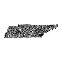 Tennessee Typography Map Art Print by CA Pow - This typography map print shows Tennessee designed using the county names to form the shape of the state. It would be perfect for any typography lover.