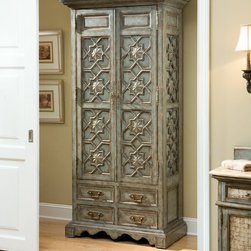 Medallion Tall Cabinet – Various Colors - Crafted from gmelina, this cabinet has a beautiful antique finish. Two adjustable shelves and four drawers. Available in a variety of finishes.