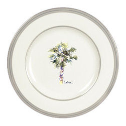 Caroline's Treasures - Palm Tree Ceramic Dinner Plate Round Platinum Rim - Heavy Round Ceramic Plate with Platinum Rim 10 1/2  inches.  LEAD FREE and diswasher safe.  The plate has been refired over 1600 degrees and the artwork will not fade or crack. Made by Caroline's Treasure in Mobile, AL