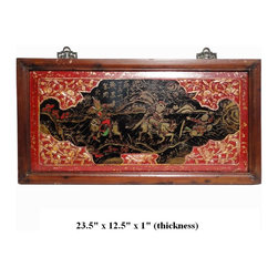 Chinese Vintage Hand Painted Opera Battle Scenery Decorative Wooden Panel - This vintage decorative panel was collected from a village northern China. It was once hung on the wall for decoration.