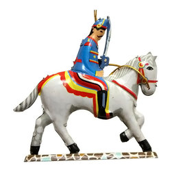"""Alexander Taron - Alexander Taron Collectible Tin Ornament - Soldier on Horse - 5""""H x 4""""W x 0.5""""D - Colorful tin cavalry soldier on a white horse ornament - Made in China."""