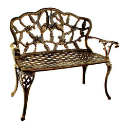 Oakland Living - Loveseat Bench w Scalloped Back & Hummingbird - Finish: Antique BronzeConstructed of rust free cast aluminum. High-grade polyester powder coat finish. Brass and stainless steel assembly hardware ensure sturdiness, durability and security for years. Finish provides a long lasting, beautiful finish that will maintain it's appearance for years to come. Minimal maintenance. Electrostatic application of the powder coat insures a smooth, even finish. Quick and easy assembly assured with step-by-step assembly instructions included with each product. Double QC quality program in which each piece is assembled prior to being unassembled and packaged assures that all parts are present and that the product will assemble easily. 17 in. W x 44 in. D x 36 in. H (40 lbs.)