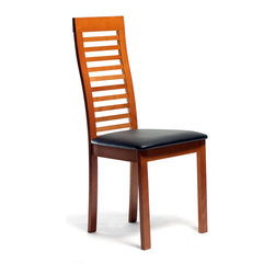 Inmod - Tova Dining Chair (Set of 2), Cherry / Black Leatherette - Feeling hohum at mealtime? Add some drama and edge to your day with the Tova Dining Chair.