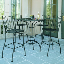 Patio Bistro Table and Chair Set - Wrought iron outdoor bistro table and chairs.