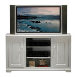 Eagle Furniture Manufacturers - Savannah 55 in. Entertainment Console (Black) - Finish: Black. Two adjustable wood shelves. Two raised panel doors. Two fixed wood shelves. Decorative molding. Warranty: Eagle's products are guaranteed against material defects for one year from date of delivery to the dealer. Poplar wood construction. Made in USA. No assembly required. 55 in. W x 17 in. D x 32 in. H (89.67 lbs.)The Savannah collection offers style from a bygone era. Raised panel wooden doors, pewter hardware, heavy arched molding and hardwood frames make for an elegant design, available in painted or rich stained finishes