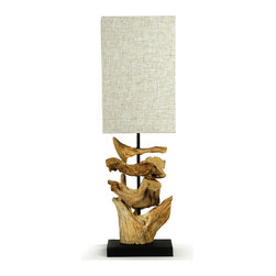 Kathy Kuo Home - Oragon Root Natural Driftwood Modern Square Table Lamp - Raw organic shapes have always played center stage in modern design, especially the sculptural use of wood, perfectly realized in the Soma lamp. Harking back to the glory days of Palm Springs and desert retreats, this piece would work beautifully in beach homes, city apartments Asian influenced rooms or any contemporary setting.  This lamp is characterized by a stack of bleached Oragon root and wood upon a black wood base. Completed by a speckled white polysilk, it is scaled to be the perfect fit for console tables, lamp tables and mantels.