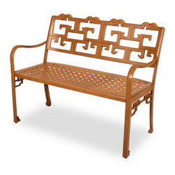 Dynasty Aluminum Bench - I love the detailing on this bench. The geometric back gives it a lot more personality.