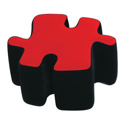 """Lumisource - Interlocking Puzzle Theme Ottoman in Red & Bl - Red top with Black sides. Puzzotto is a multi-functional upholstered ottoman. Fit several """"puzzle-pieces"""" together to make a coffee table, then separate them for extra seating when friends come to visit. As a group, they're even comfortable enough to use as a guest bed. 20 in. W x 24 in. L x 20 in. H (5 lbs.)"""