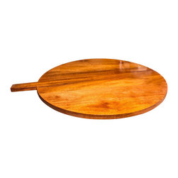 "Alemandro Round Cutting Board With Rectangular Handle - Beautiful, handmade, authentic mahogany round cutting board Dia 19 3/4"" ; 3/4"" thick with elegant long handle. It is designed for multiple use. Exotic hardwood of Mahogany rustic serving decorative board for bread, cheeses and appetizers."
