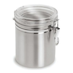 Cuisinox - Cuisinox Air Tight Canister 4 3/4 x 4 3/4in. - A stylish way to store your dry goods. This small sized stainless steel canister has an air tight lid, lined with silicon rubber and a clear acrylic lid for easy viewing. The sturdy clamp is designed to avoid pinching fingers. Useful in the pantry or stylish on the countertop. Two larger sizes are also available.