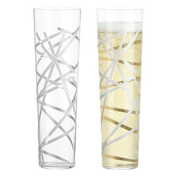 Crackle Flute - These festive champagne glasses are covered in spider web–like silver stripes that almost make the glass appear broken.