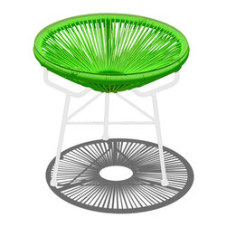 Harmonia Living - Acapulco Patio Side Table and Ottoman, Lime Green - The Acapluco Side Table in Lime Green (SKU HL-ACA-ST-LG-WH) by Harmonia Living blends mid-century design with modern funk to create a new standard of comfort and style for your patio. The collection is inspired by woven furniture that was incredibly popular in Central America in the 1950s and '60s, creating seating that is supportive and breathable. This makes the Acapulco Lounge Chair ideal for unwinding even in the warmest climates. The chair is designed to center your weight between its triangular legs, providing a stable and comfortable resting position that seems to defy the outrageous geometry of the collection. Beyond its comfortable design, the lounge chair is constructed with a powder-coated steel frame, making it incredibly durable and weather-resistant. The frame is wrapped in a supportive Polyethylene cord, giving the collection its distinctive look. The chair is available in 4 funky colors that are sure to brighten up your patio, including Glacier Blue, White Lighting, Atomic Tangerine and Jet Black.