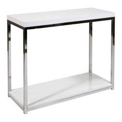 Office Star - Office Star Avenue Six Wall Street Foyer Table in Chrome / White - Wall street foyer table in chrome / white