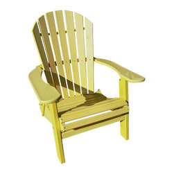Phat Tommy - Recycled Adirondack Chair in Yellow - Today, more than ever, people are finding their place of relaxation in their own backyard. Chairs stay beautiful year after year with no rotting, splitting or cracking.