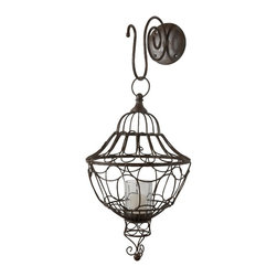 Lazy Susan - Lazy Susan Russet Wall Mount Wire Lantern X-010495 - Made from metal wire and glass