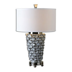 Uttermost - Uttermost 26769-1  Petalo Pearl Gray Table Lamp - Delicate ceramic petals finished in a light pearl gray accented with polished nickel details. the round hardback drum shade is a white linen fabric.
