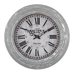 Aged Grey Round Victoria Station Clock - *With its unassuming, aged style, this aged grey wall clock is not only a household essential but will stand the test of time too.