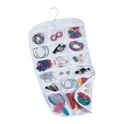 Home Decorators Collection - Pocket Jewelry Organizer - This soft fabric organizer offers several pockets with see-through plastic tops so you can neatly organize your favorite pieces and have them readily available when needed. Whether for your every-day essentials or to keep your seldom-used pieces safe and stored away, you will love having this piece as a part of your home. Double-sided design offers 37 pocket organizers. Standard coat hanger will suspend from any closet rod or wire shelving unit.