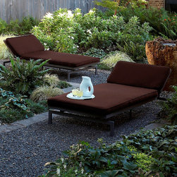 None - Alyssa Bay Brown Adjustable Outdoor Chaise with Sunbrella Fabric - Relax in cool style on this chic modern brown outdoor chaise lounge. This simple, sleek design is crafted out of mildew resistant, fade resistant, weather resistant, and stain resistant fabric over a metal frame and filled with polyester and foam.