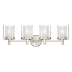 Nuvo Lighting - Nuvo Lighting 60-4644 Decker 4-Light Vanity Fixture with Clear and Frosted Glass - Nuvo Lighting 60-4644 Decker 4-Light Vanity Fixture with Clear and Frosted Glass