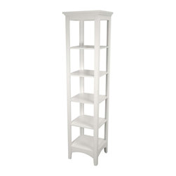 Elegant Home Fashions - Madison Avenue Linen Tower - The Madison Avenue Linen Tower from Elegant Home Fashions has an elegant crown molded top with five fixed shelves that offer storage with style for your bathroom.  Open design offers easy access to stored items .This cabinet comes with assembly hardware.