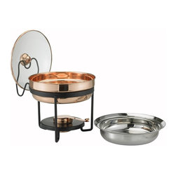 Old Dutch International - Décor Copper Chafing Dish w/Glass Lid - Keep your food warm in style with this copper finished chafing dish. This stainless steel food pan is nestled over a temperature-moderating water pan and adjustable gel-fuel holder, to ensure evenly heated cuisine. The glass-lidded food pan is oven and dishwasher safe, for ease of serving.