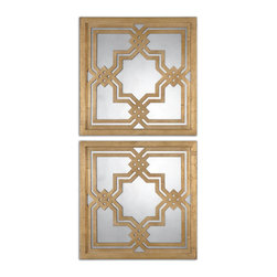 Uttermost - Piazzale Gold Square Mirrors Set of 2 - Frames have a lightly antiqued, gold leaf finish accented with antiqued mirrors.
