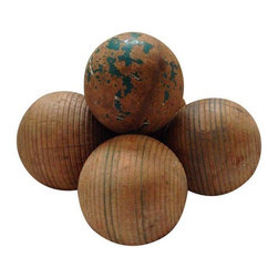 "Pre-owned Vintage Croquet Wooden Balls - A collection of vintage wooden croquet balls. These sculptural objects are in their original naturally aged state and will add a touch of nostalgia to your decor. These vintage sporting pieces will look great on a shelf or table.     Note from seller: ""The last of my grandmothers set she was born in 1901 and she said she got them on her birthday in her early years young lady great memories!"""