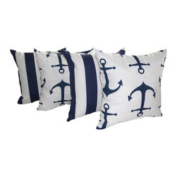 Land of Pillows - Anchors and Vertical Stripes Navy Blue Indoor Throw Pillow Nautical Set of 4, 18 - Fabric Designer- Premier Prints