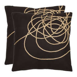 Safavieh - Swirls 18-inch Brown/ Tan Decorative Pillows (Set of 2) - Place this pair of square decorative pillows on your sofa or bed to bring a bit of a modern flair. With tan swirls over a solid dark-brown background, the pillows have a modern design that works beautifully with your neutral-colored furniture.