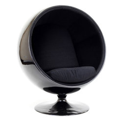 MODERN BLACK BALL SHAPED LOUNGE CHAIR INSPIRED BY EERO AARNIO DESIGN - MODERN BLACK BALL SHAPED LOUNGE CHAIR INSPIRED BY EERO AARNIO DESIGN