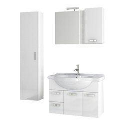 ACF - 32 Inch Glossy White Bathroom Vanity Set - This vanity is a five piece contemporary set made in Italy by ACF.