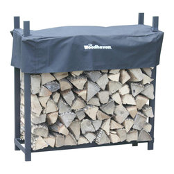 Woodhaven - 4' Firewood Rack With Standard Cover - Great for garages, porches on the patio or deck. Includes standard short cover, black plated eight stainless steel nuts and bolts. 1/4 cord rack. Arc welded end sections. Drill precision holes. Cover allows airflow to prevent mold, mildew and promote curing process. Protects top of firewood from weather. Four reinforced pockets. Pockets allows cover to slide down on vertical tubes to level of firewood. Reinforced stitching in all stress points. Velcro panel for quick and easy access to firewood.